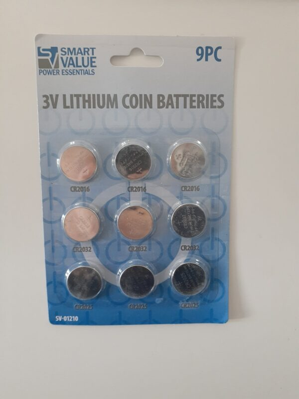 9 Assorted Lithium coins batteries card