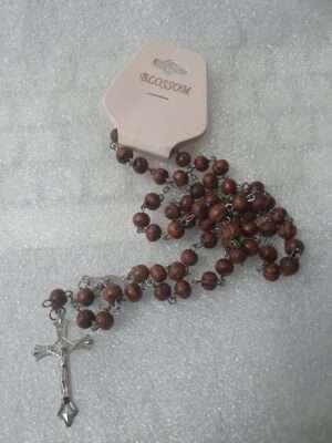 "36""_Wood_Bead_Rosary_Silver_Cross"