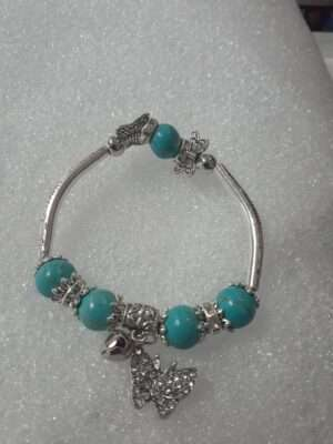Silver_Butterfly_Theme_Stretch_Turquoise_Stone_Bracelet